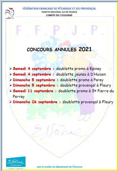 CONCOURS  ANNULES  SEPTEMBRE  2021