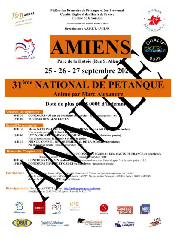ANNULATION DU NATIONAL D'AMIENS 2020