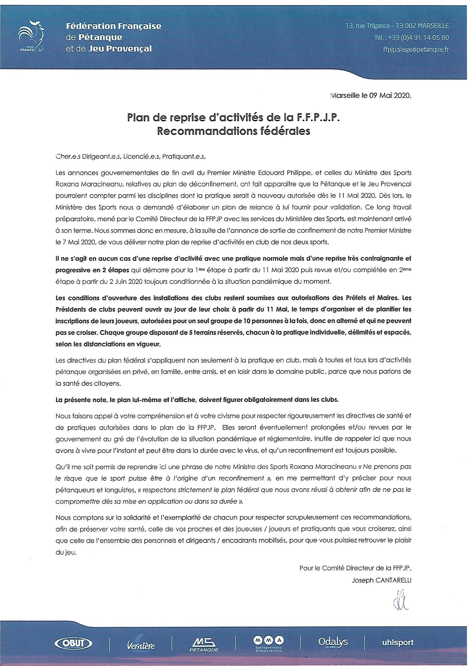 PLAN DE REPRISE OFFICIEL FFPJP