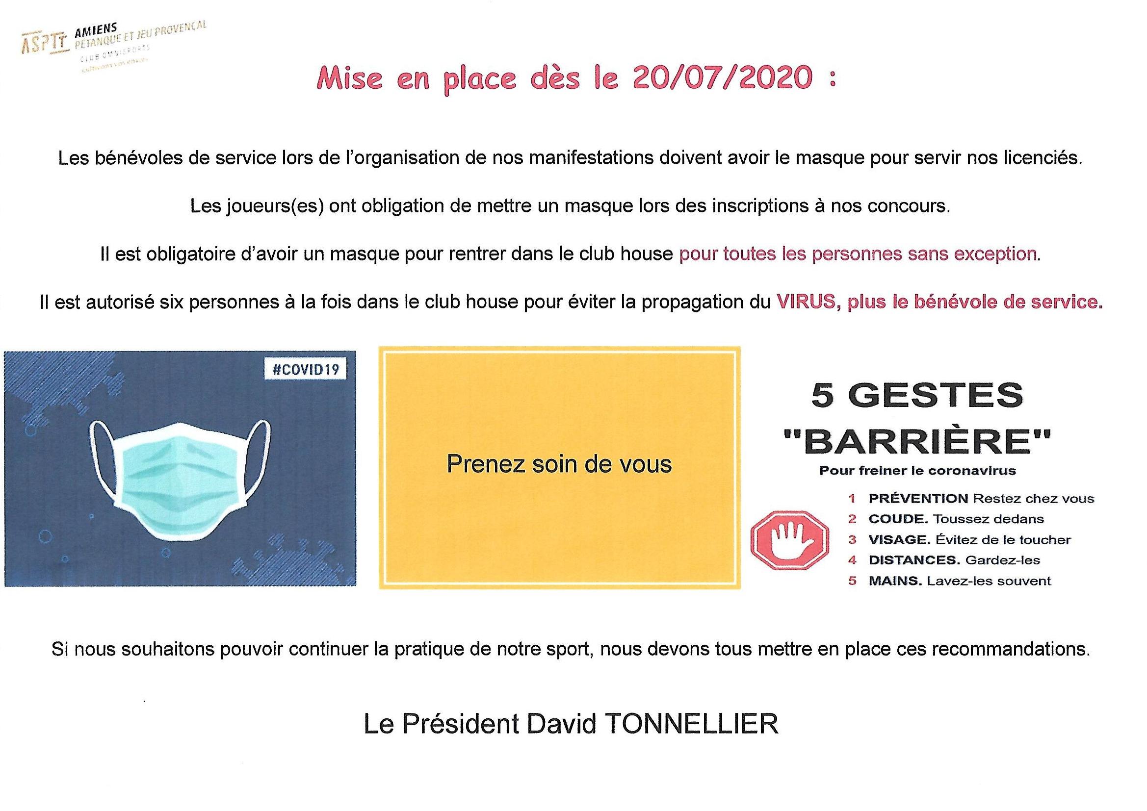 LES RECOMMANDATIONS DU 20/07/2020 AU BOULODROME