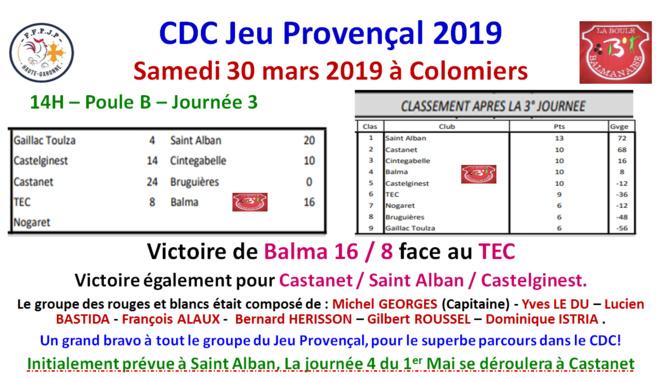 Résultats + classement J3 CDC JP 30/03/19