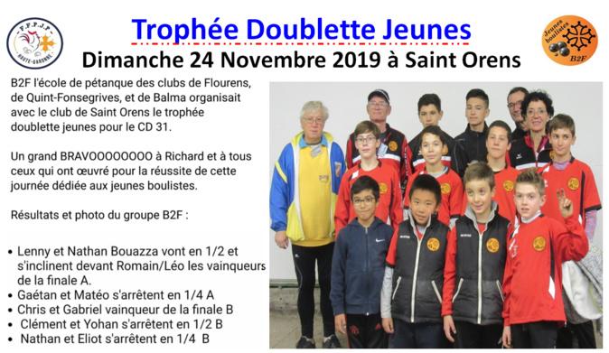 Trophée doublette jeunes à Saint Orens le 24/11/19