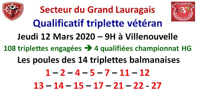 Qualificatif Triplette Vétéran 12/03/2020