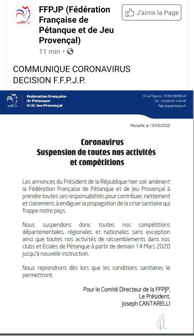 Infos FFPJP CORONAVIRUS