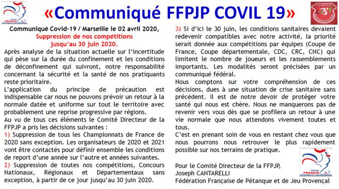 COVIL-19 Communiqué FFPJP
