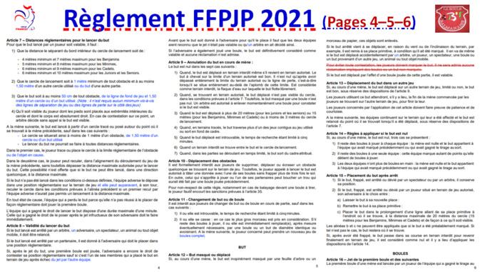 Règlement FFPJP 2021