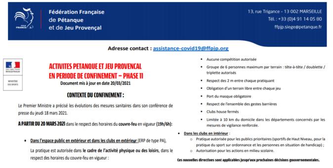 COVID19==>Directives ministérielles du 20/03/2021