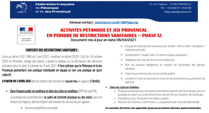 COVID19==>Directives ministérielles du 03/04/2021