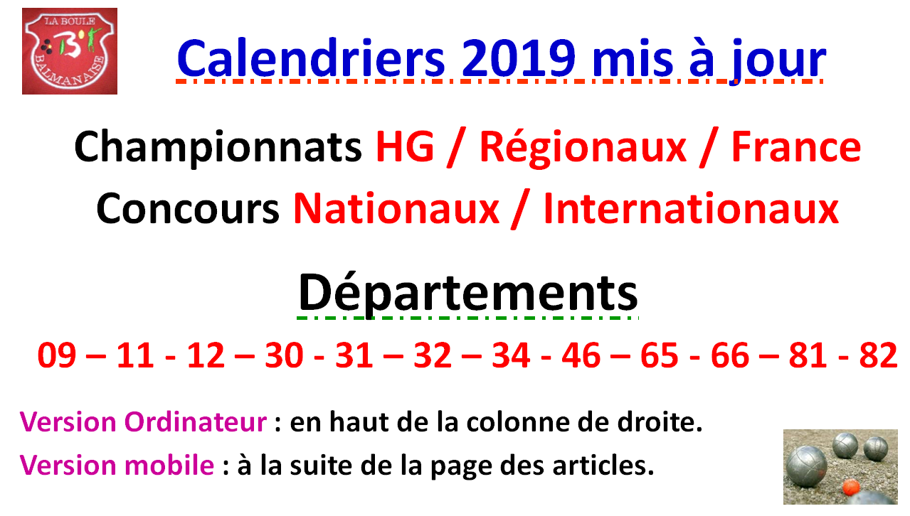 Calendriers 2019
