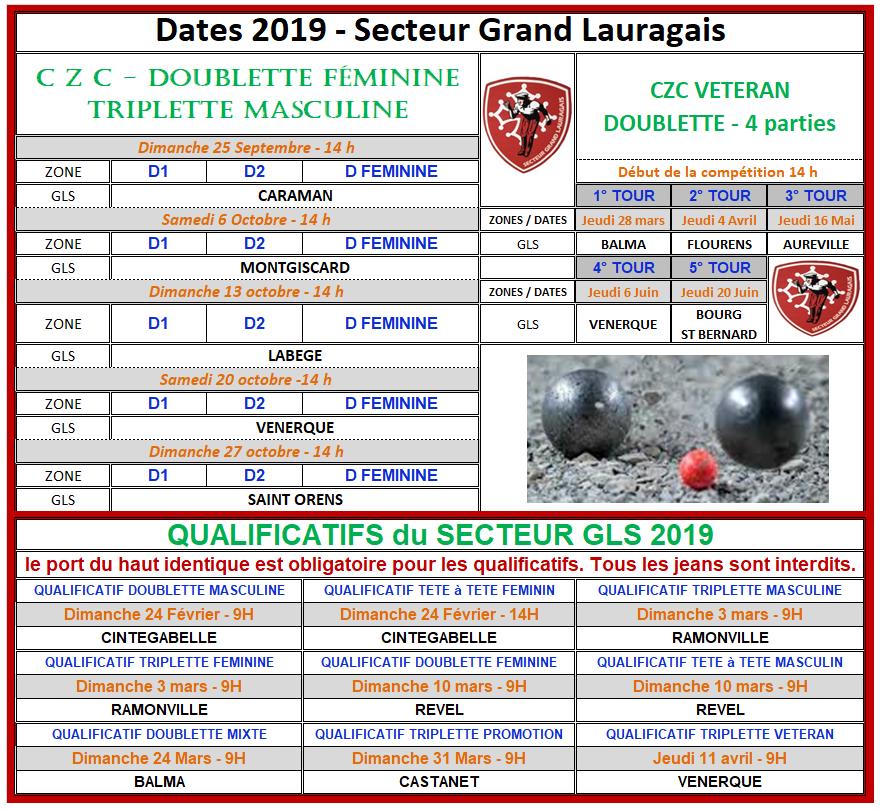 Dates 2019 Secteur du Grand Lauragais.