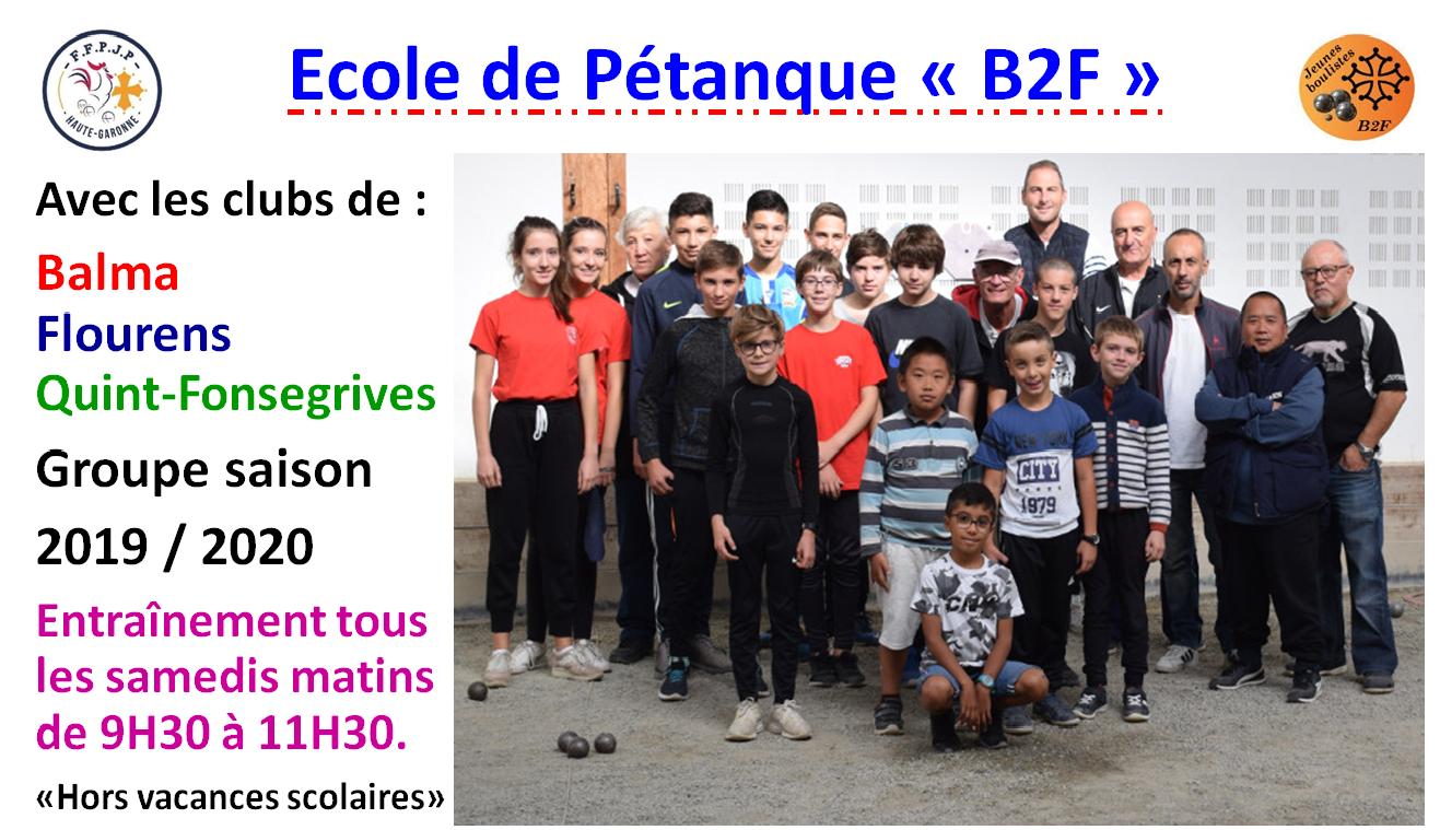 Ecole pétanque B2F saison 2019/2020