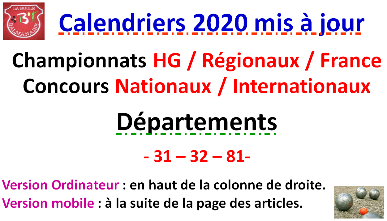Calendrier Petanque Charente Maritime 2021 Calendriers 2020 Mise à jour N°2