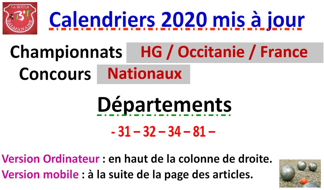 Cd34 Petanque Calendrier 2021 Calendriers 2020 Mise à jour N°3