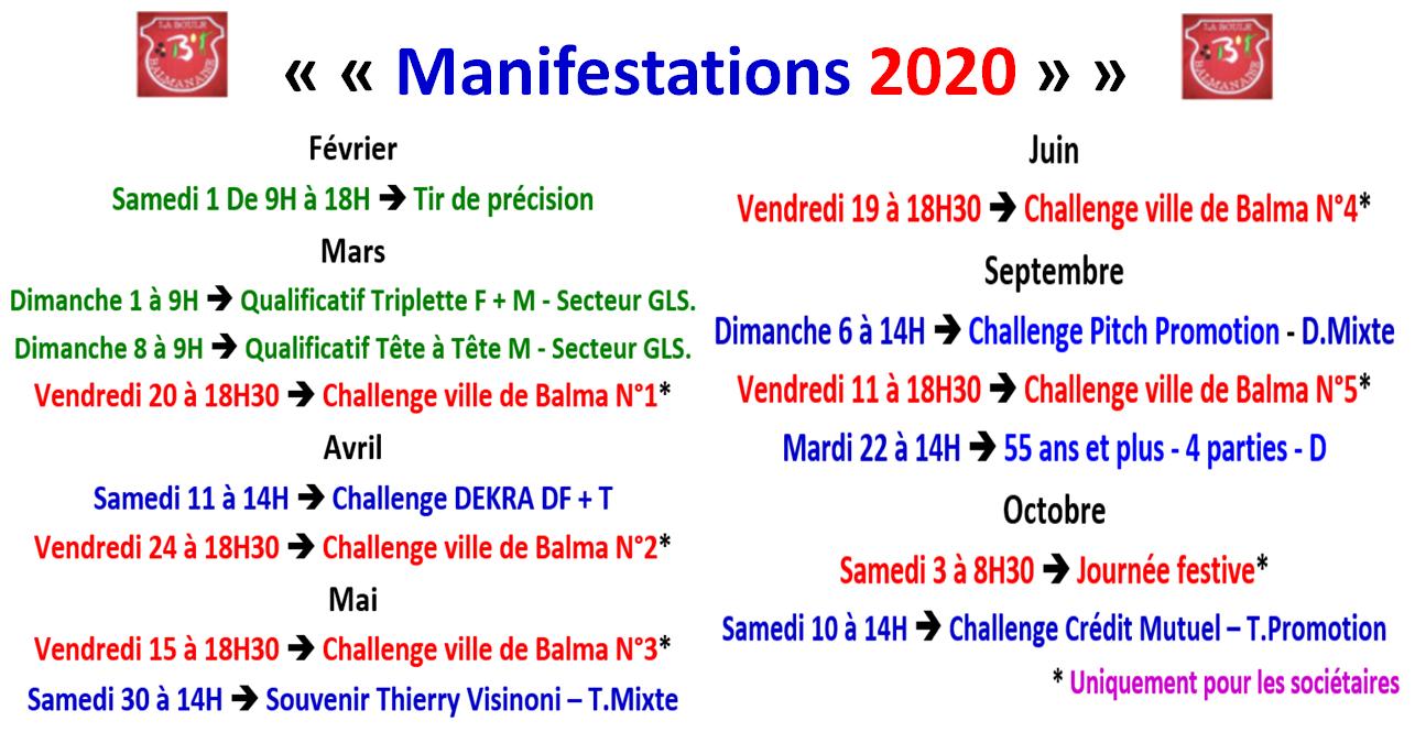 Manifestations 2020 La Boule Balmanaise