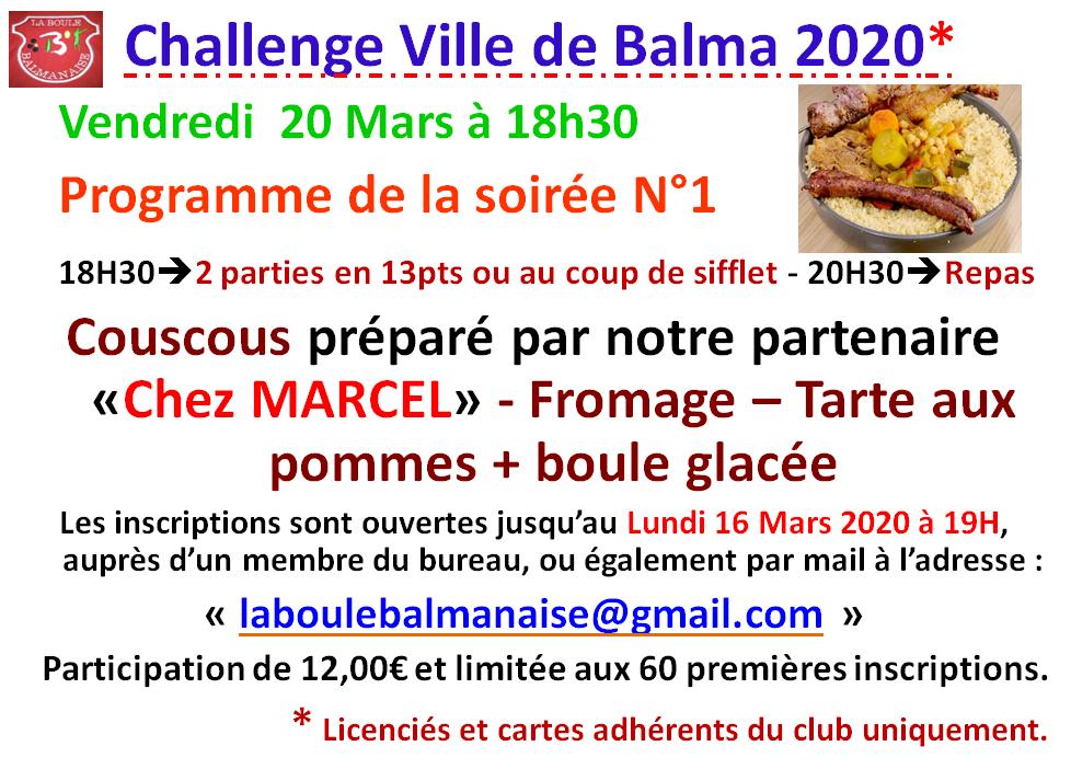 Challenge ville de Balma - soirée N°1 - 20/03/2020