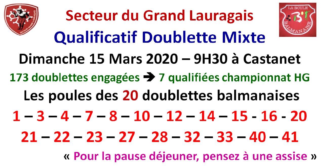 Qualificatif Doublette Mixte 15/03/2020