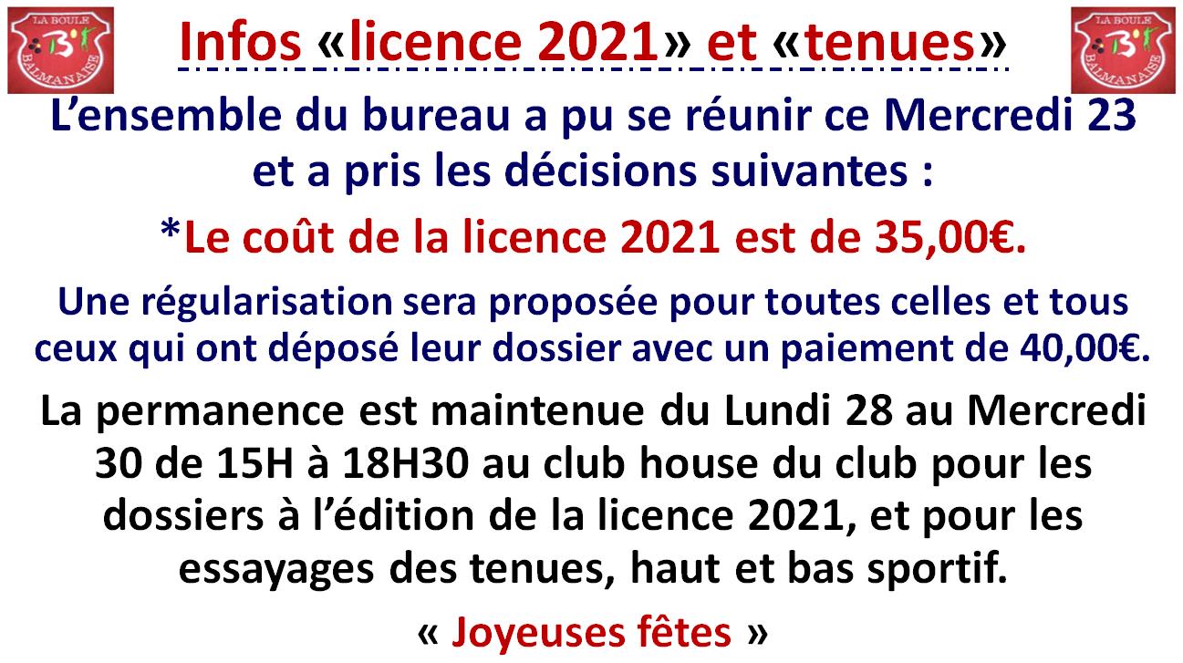 Infos tenues et licence 2021