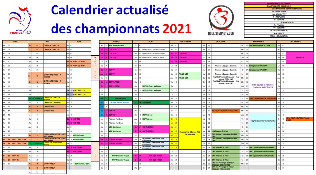Calendrier actualisé championnats 2021