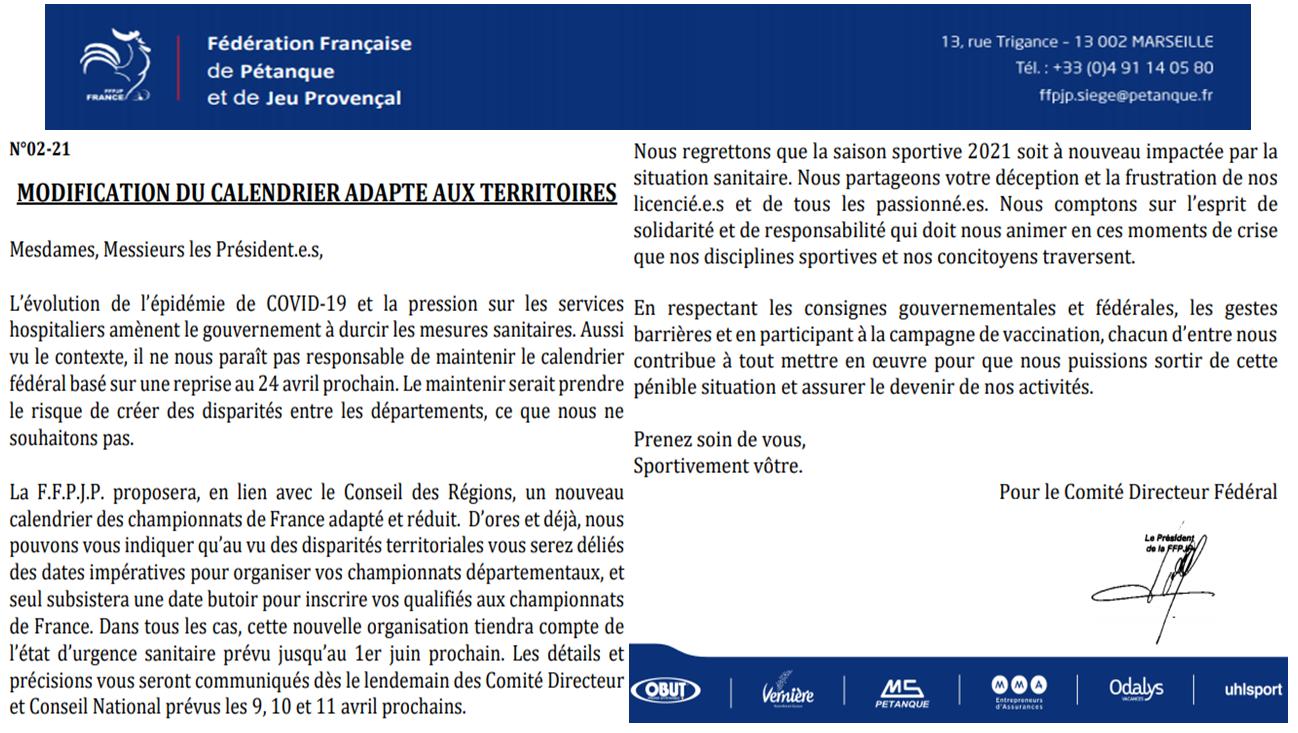 FFPJP Infos calendrier 2021