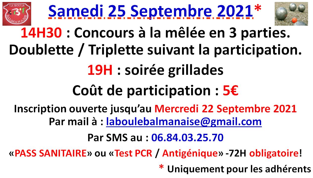 Animation pétanque + grillades Samedi 25/09/2021