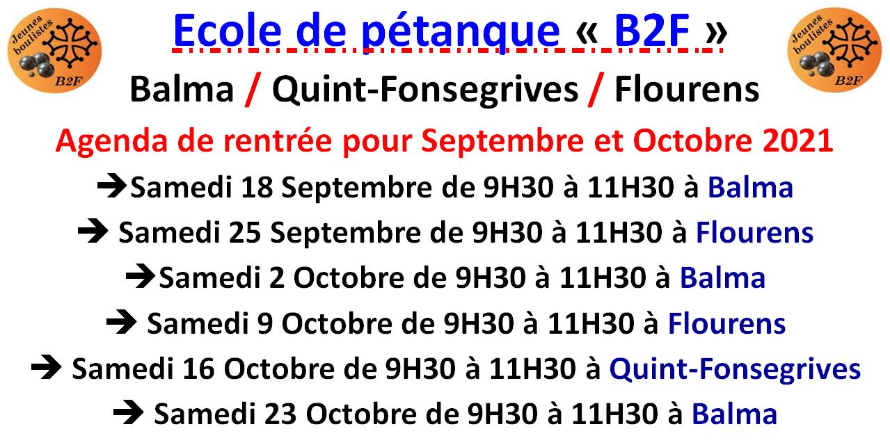 B2F Agenda Septembre et Octobre 2021