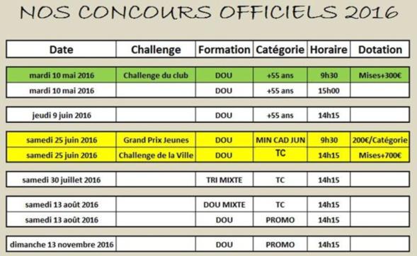 Nos concours officiels 2016