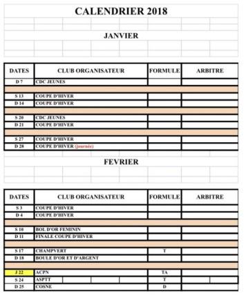 Calendrier Nièvre 2018