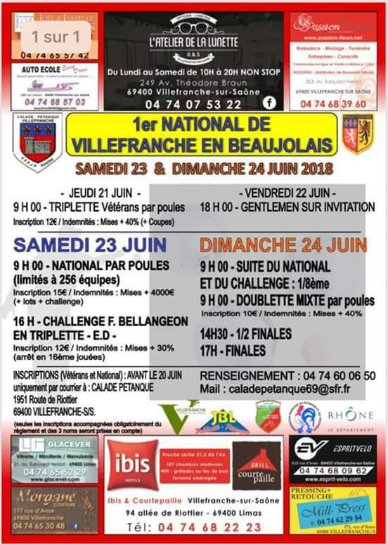 1 er NATIONAL DE VILLEFRANCHE EN BEAUJOLAIS