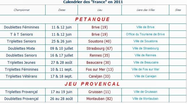 CALENDRIER DES FRANCE 2011