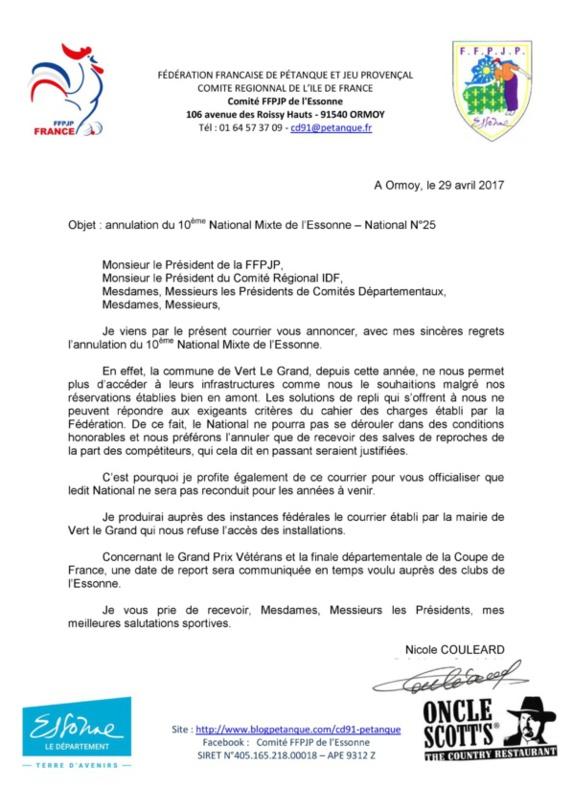 Annulation National de Vert Le Grand
