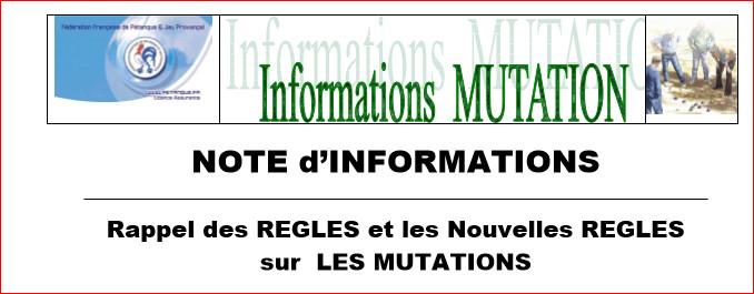 Rappel des RÈGLES et les Nouvelles RÈGLES sur LES MUTATIONS 2016-2017