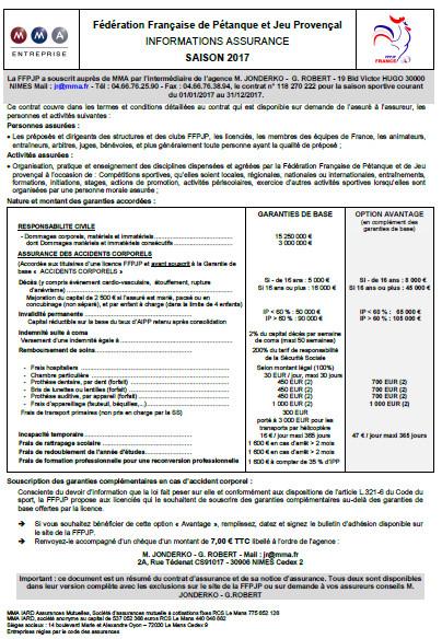 Fédération Française de Pétanque et Jeu Provençal INFORMATIONS ASSURANCE SAISON 2017 et FORMULAIRE DE DEMANDE DE LICENCES 2017