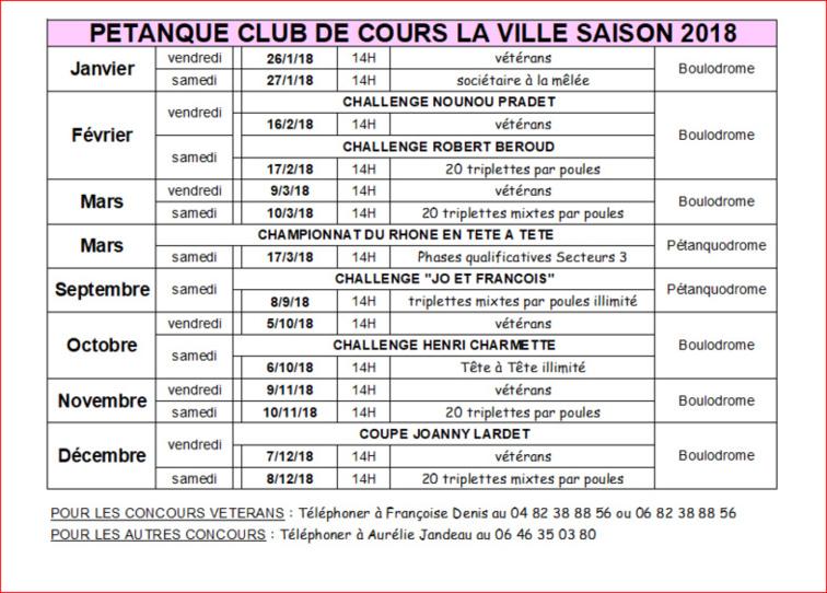 CALENDRIER PÉTANQUE CLUB DE COURS LA VILLE SAISON 2018
