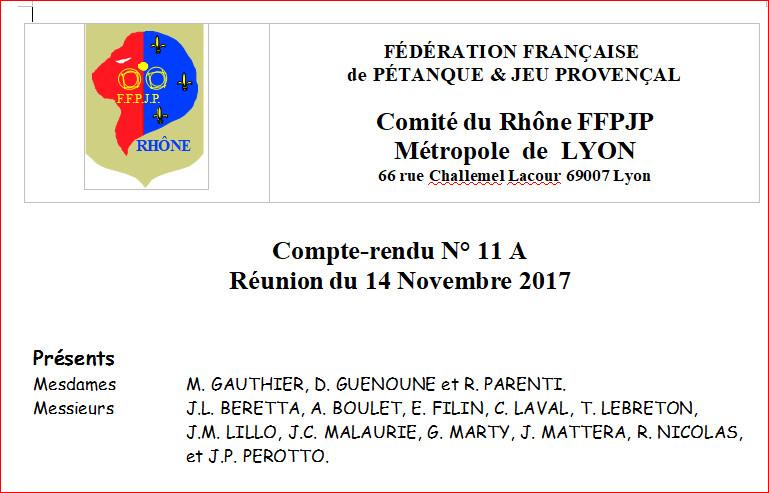 Compte-rendu N° 11 A Réunion du 14 Novembre 2017