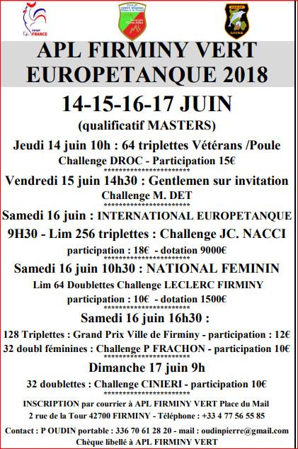 EUROPETANQUE  14.15.16.17 juin 2018 Firminy