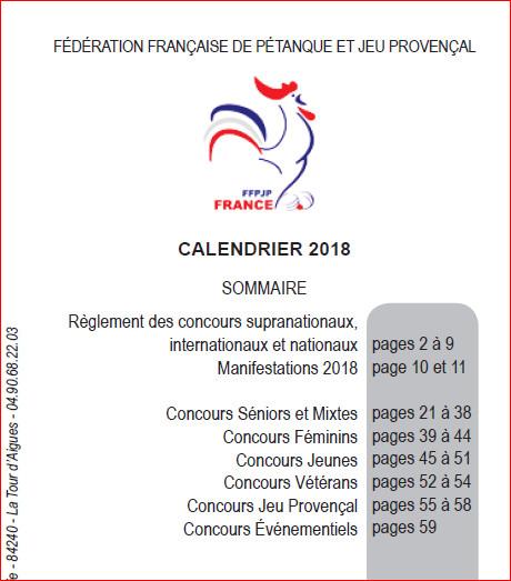 Calendrier de la Fédération Française de Pétanque et Jeu Provençal 2018