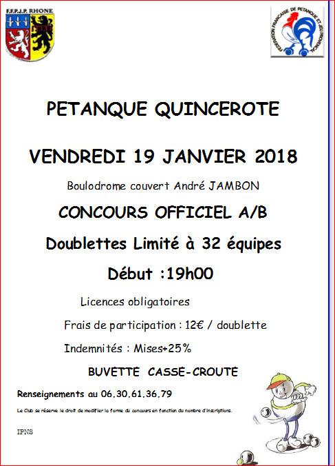 Concours PETANQUE QUINCEROTE  VENDREDI 19 JANVIER 2018 Boulodrome couvert André JAMBON CONCOURS OFFICIEL A/B