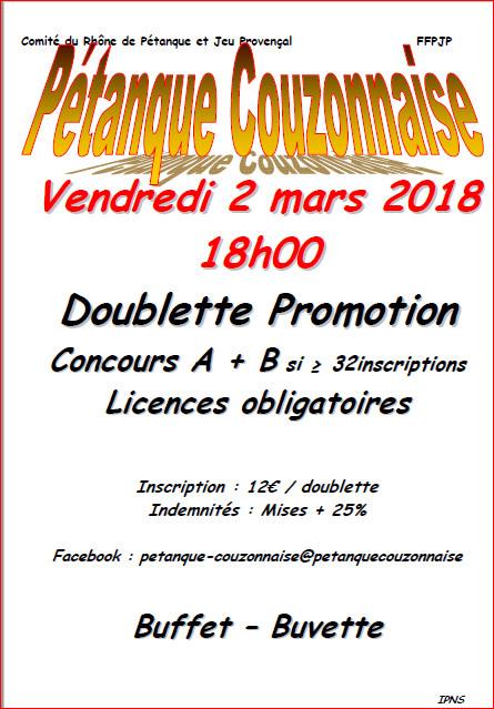 Concours doublette promotion du vendredi 2 mars 2018