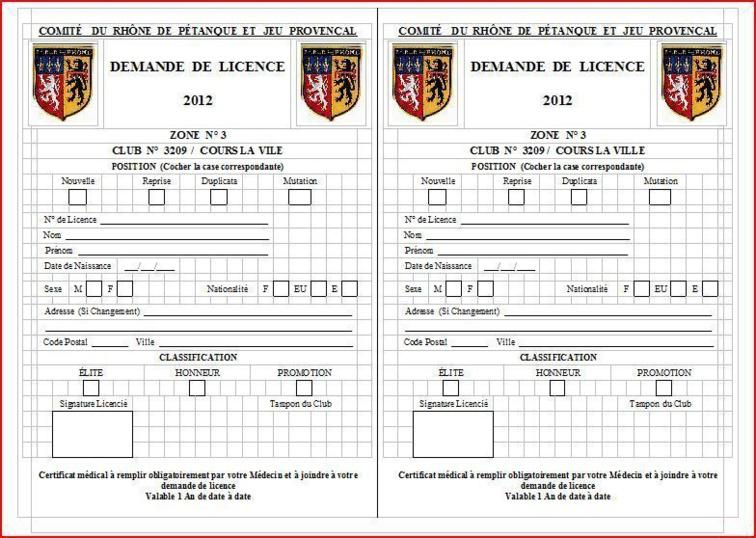 formulaire demande de licence 2012 et certificat médical