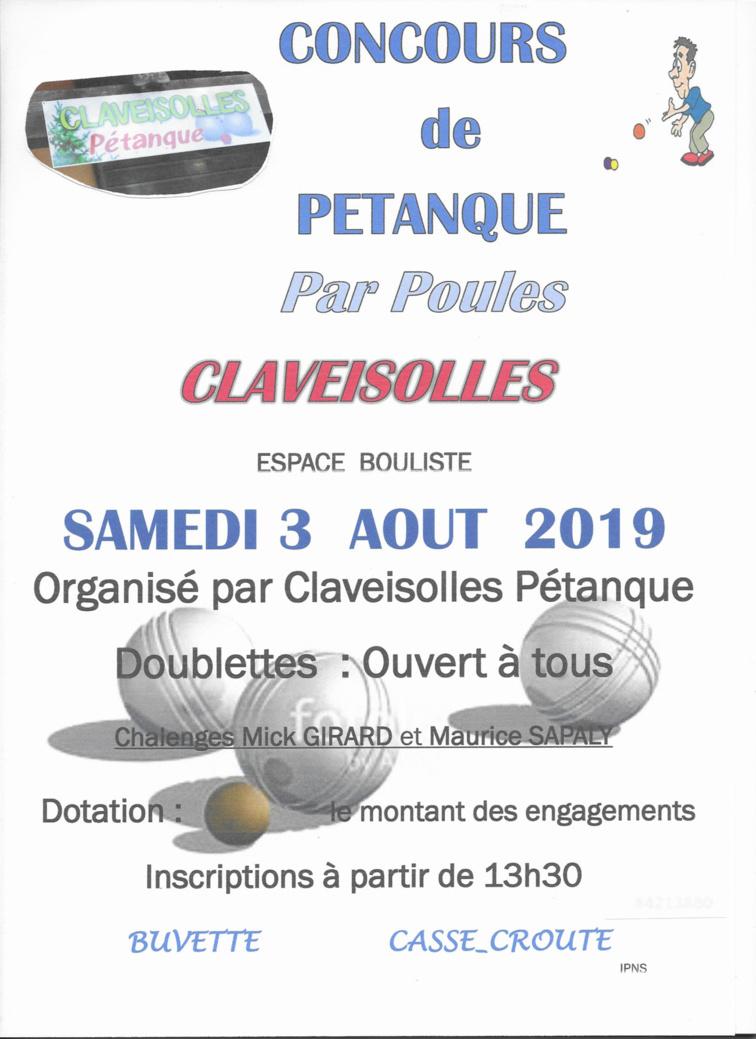 Concours de Pétanque du Samedi 03 AOUT 2019 13H30 organisé par CLAVEISOLLES PETANQUE