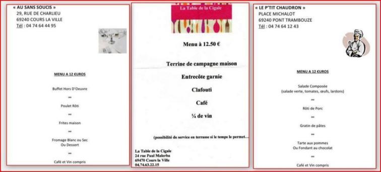 Pour le concours du 30 juin 2012  restauration sur place ou au restaurant