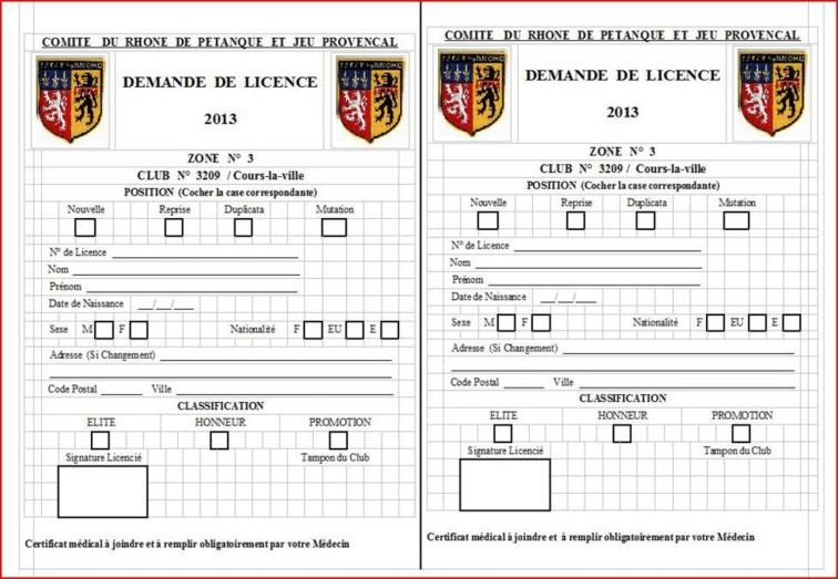 Info licences pétanque club Cours-la-ville 2013