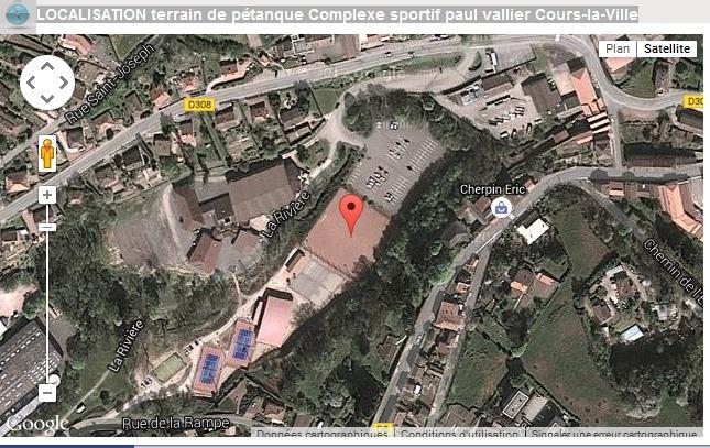 LOCALISATION terrain de pétanque Complexe sportif paul vallier Cours-la-Ville Championnat du Rhône triplette mixte 2015