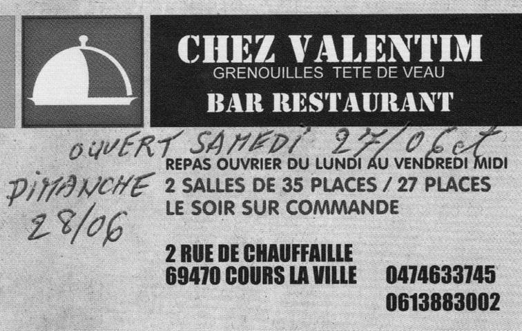 """Restaurant à cours la ville """" CHEZ VALENTIM """""""