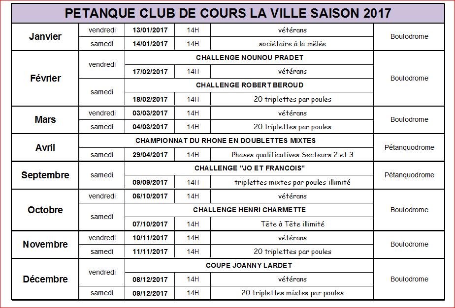 Calendrier concours Cours la ville saison 2017