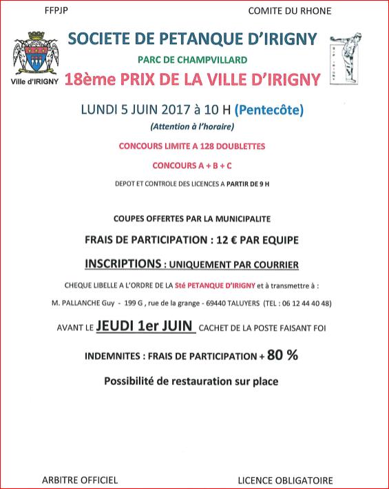 Concours prix de la ville d 39 irigny le lundi 5 juin 2017 10 h pentec te - Lundi de la pentecote 2017 ...