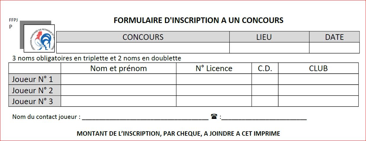 Calendrier Petanque Ardeche 2020.Fiche Inscription Pour Participer A Un Concours Supra