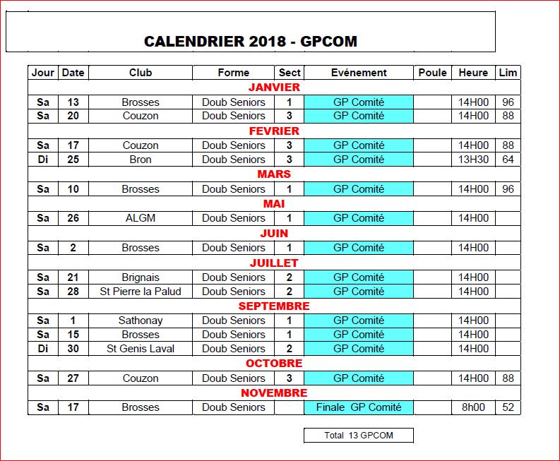 Calendrier Petanque Ardeche 2020.Calendrier 2018 Gpcom
