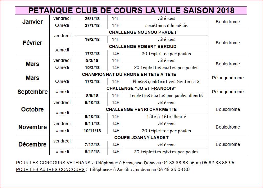 Calendrier Petanque Ardeche 2020.Calendrier Petanque Club De Cours La Ville Saison 2018