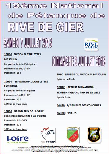 19 ème National de pétanque de RIVE DE GIER samedi 08 juillet 2018
